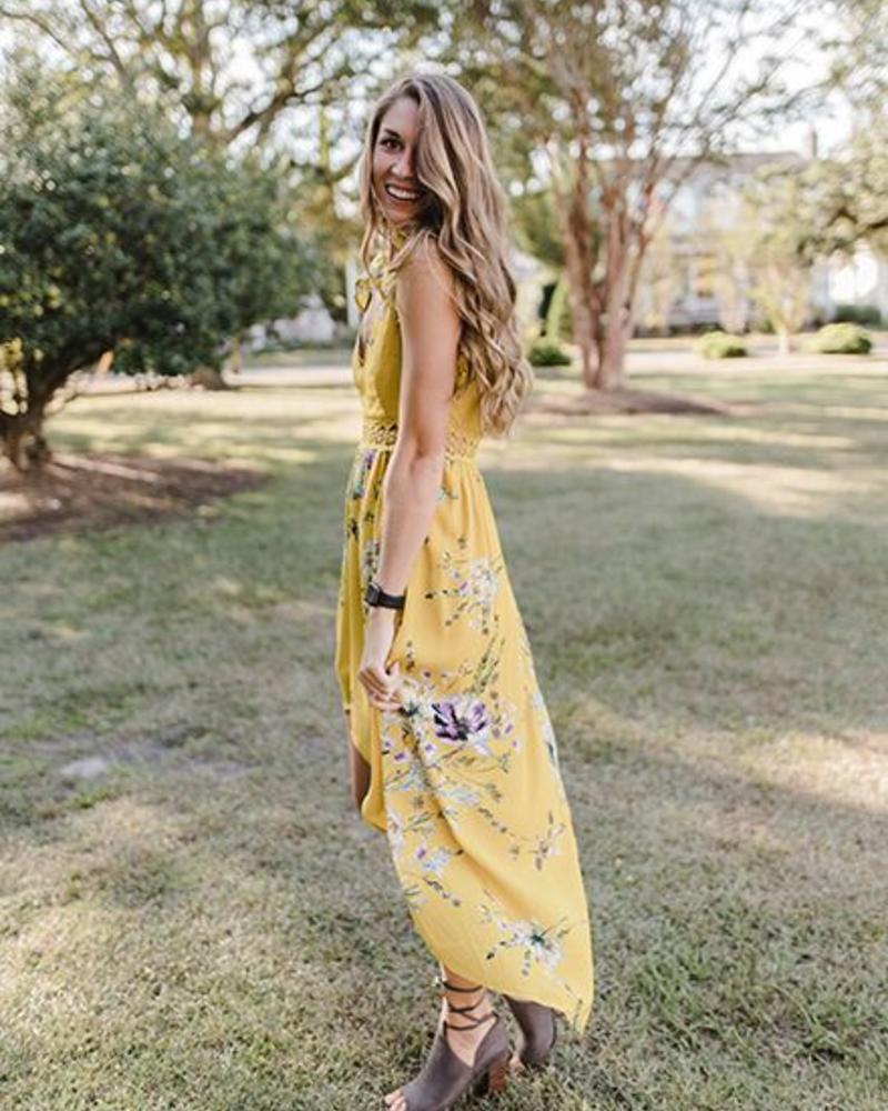 Megan Hi-Lo Floral Print Maxi
