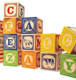 playtime wooden ABC blocks (Portuguese) w/ canvas bag