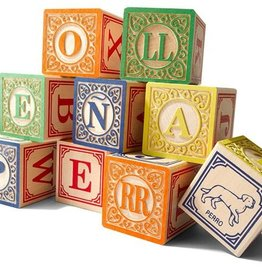 playtime wooden ABC blocks (Spanish) w/ canvas bag