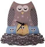 decor z modern moose nest owl wall clock