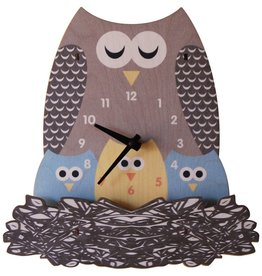 decor z modern moose nest owl wall clock