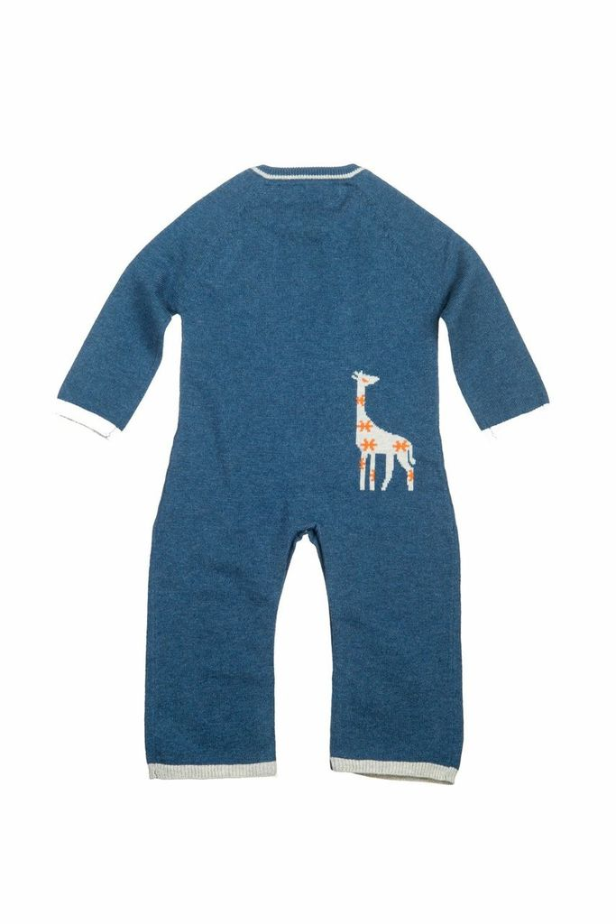 baby boy lucky jade navy giraffe coverall