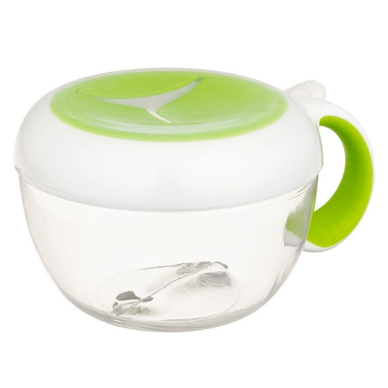 feeding oxo tot flippy snack cup with travel cover, green