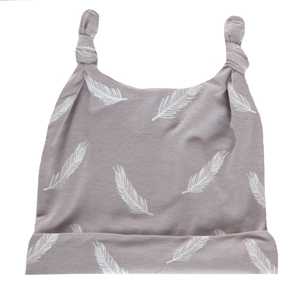 fashion accessory kickee pants print double knot hat, falling feather