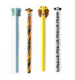 playtime safari animal pencil s/4