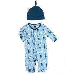 baby boy zz kickee pants boy layette gown converter & knot hat