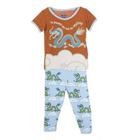 toddler boy kickee pants boy ss pajama set