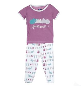 toddler girl kickee pants girl ss pajama set