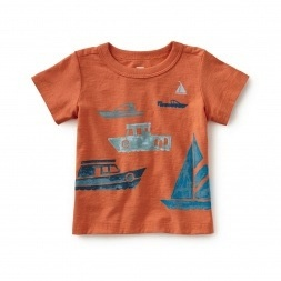baby boy boats on the water graphic tee