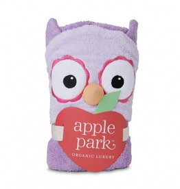 bath ap purple owl infant hooded towel