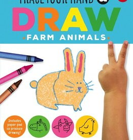book trace your hand & draw: farm animals