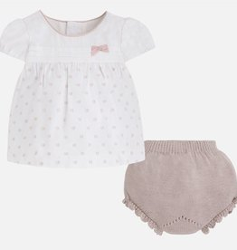 baby girl blouse with knit diaper cover