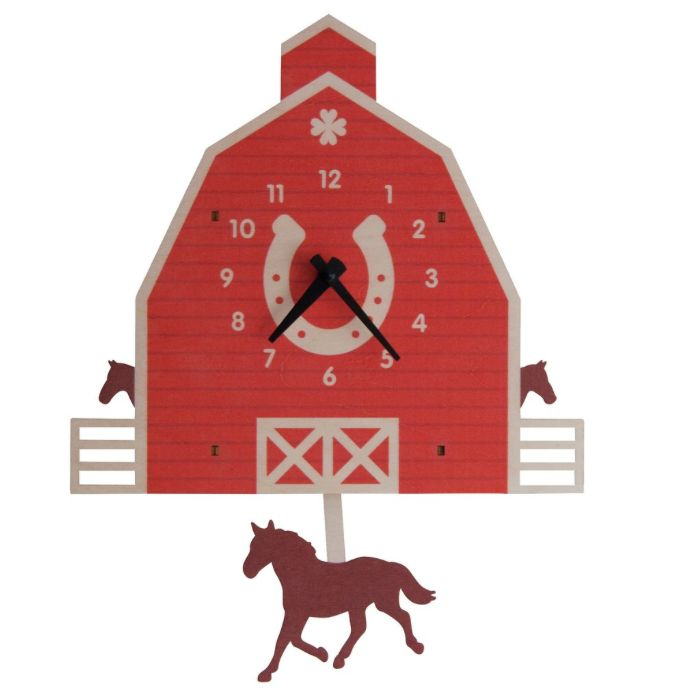 decor modern moose barn & horse pendulum clock