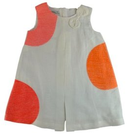 baby girl linen embroidered dot dress