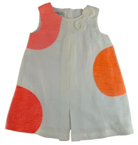 baby girl linen embroidered dot dress