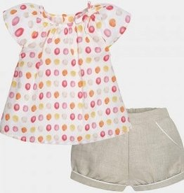 girl linen dot short set