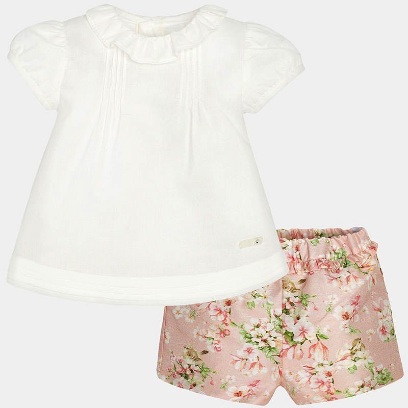 girl linen rose short set
