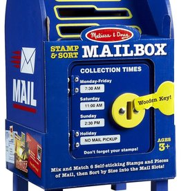 playtime enjoy the thrill of receiving personal mail every day with this wooden mailbox activity set. with six letters and six removable stamps, it's fun to sort the mail into the mailbox, then open the door with the wooden key for a special delivery.