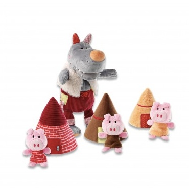 baby wolf & 3 little pigs