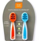 feeding num num dips, blue and orange
