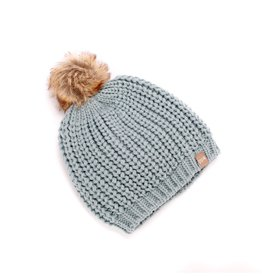 fashion accessory chunky rib knit pompom beanie