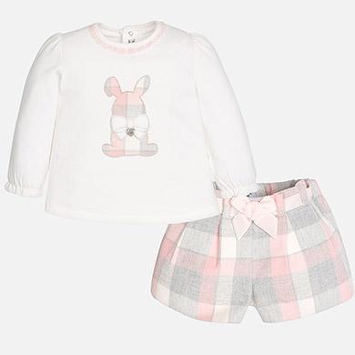 baby girl bunny plaid shorts set
