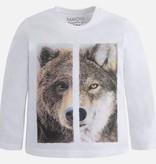 boy wolf/bear graphic t shirt