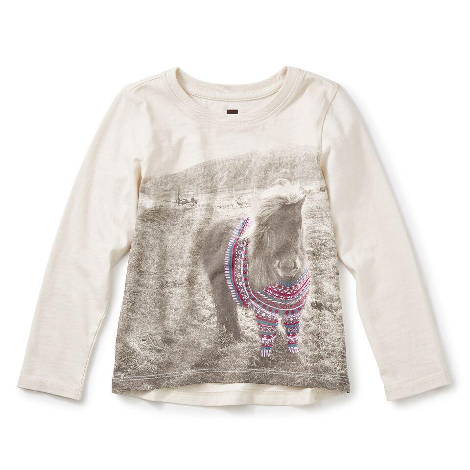 girl shetland sweater graphic tee, size 5
