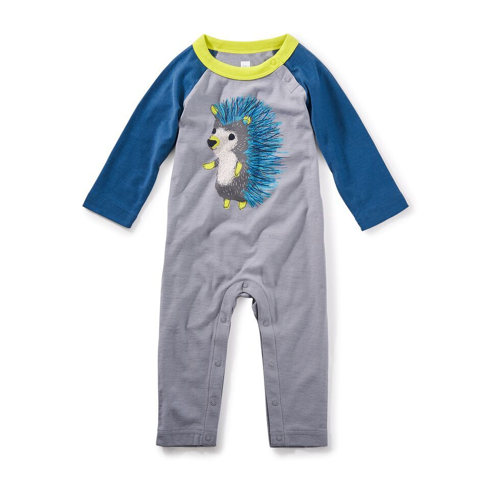 little boy hedgehog graphic romper, 3-6