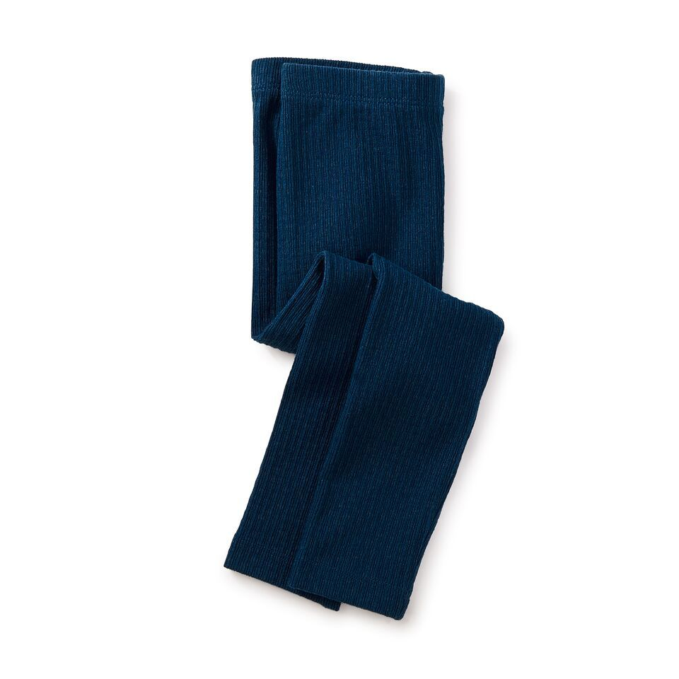 girl pointelle leggings, deep ocean, size 5
