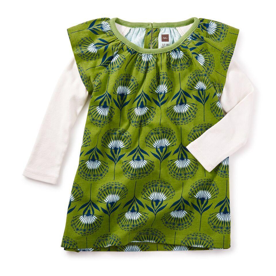 little girl dandelion baby flutter dress, 18-24m