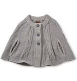 girl isobel sweater cape, dark grey heather, M