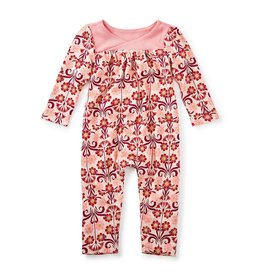 little girl dahlia wrap neck romper, 0-3m