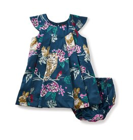 little girl caledonian forest baby dress, 6-9m