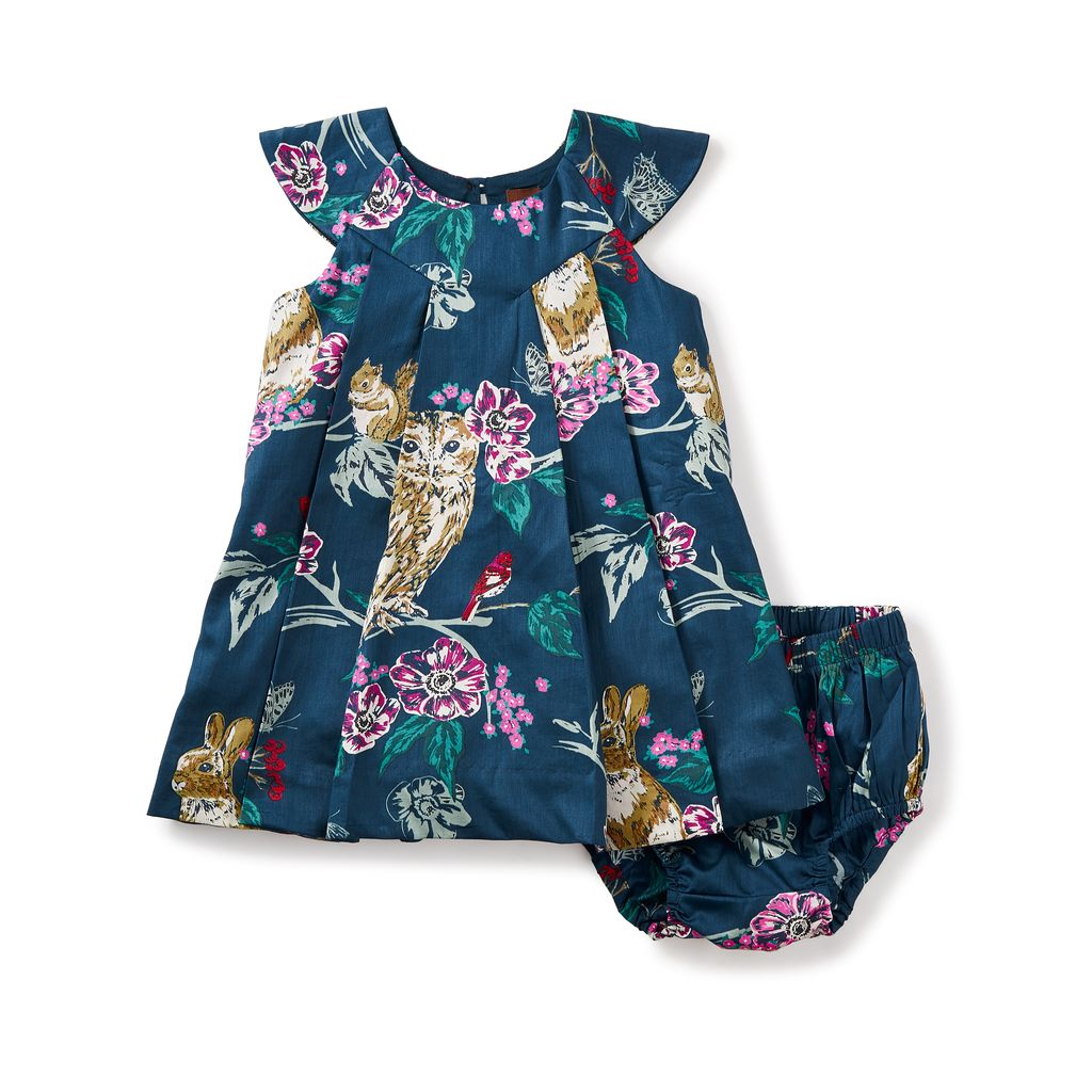 little girl caledonian forest baby dress, 18-24m