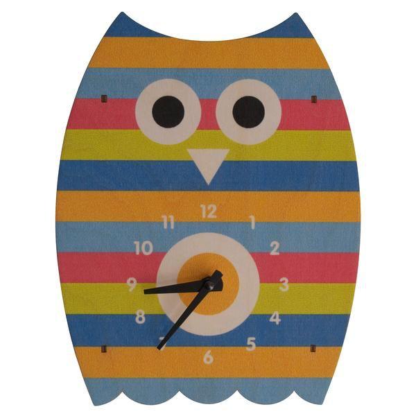 decor modern moose striped owl wall clock