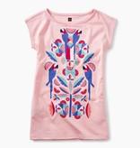 girl tropical birds graphic dress, pink gloss, 5