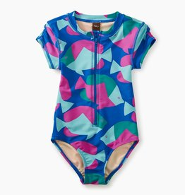 toddler girl rash guard one-piece, tropical fish