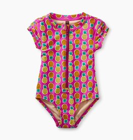 toddler girl rash guard one-piece, tropical pineapple