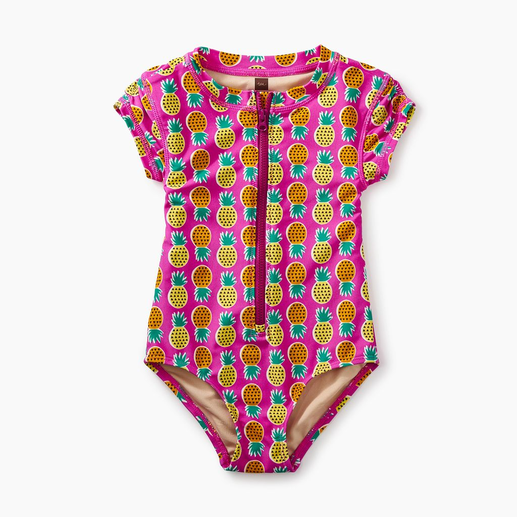 girl rash guard one-piece, tropical pineapple