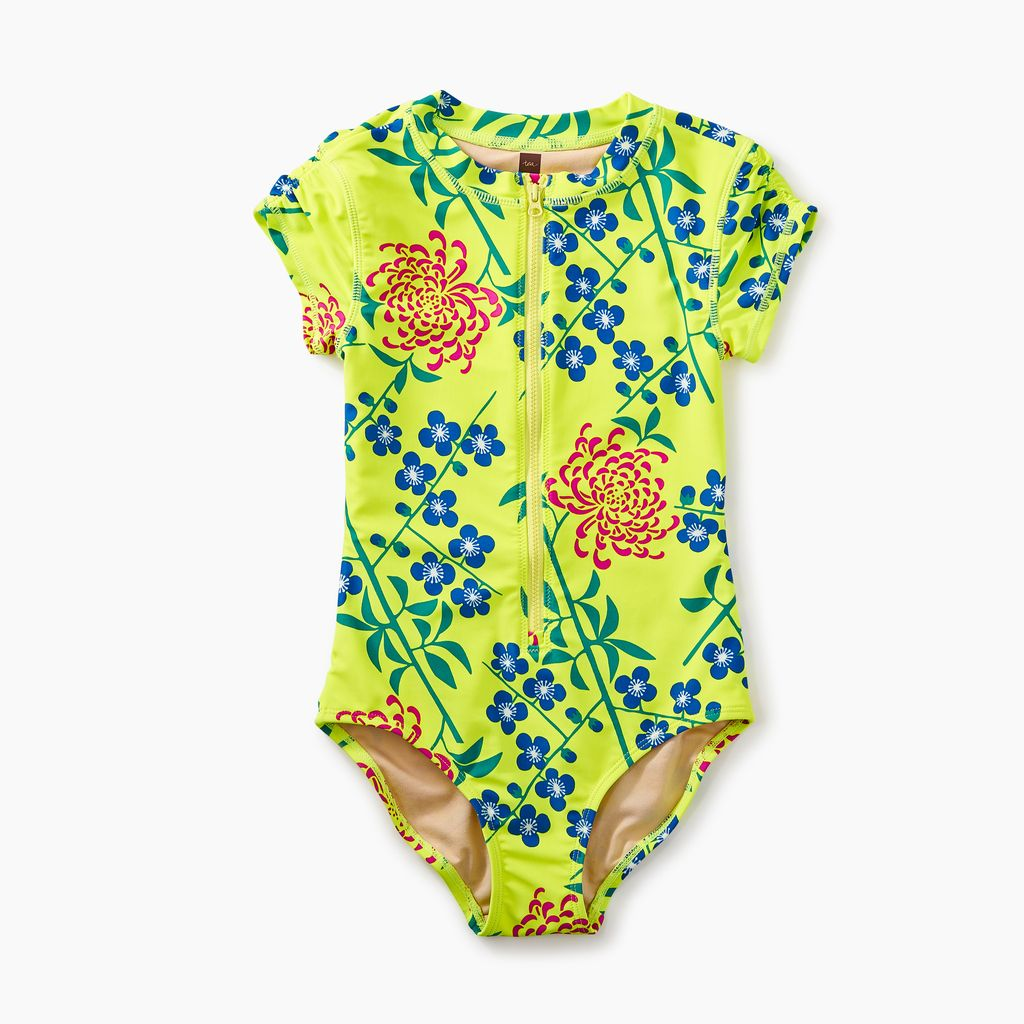 girl rash guard one-piece, branch blossoms