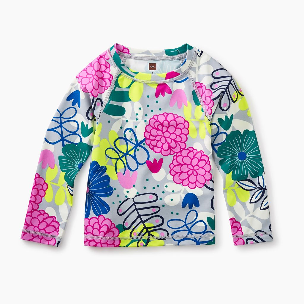 girl long sleeve rash guard - bouquet