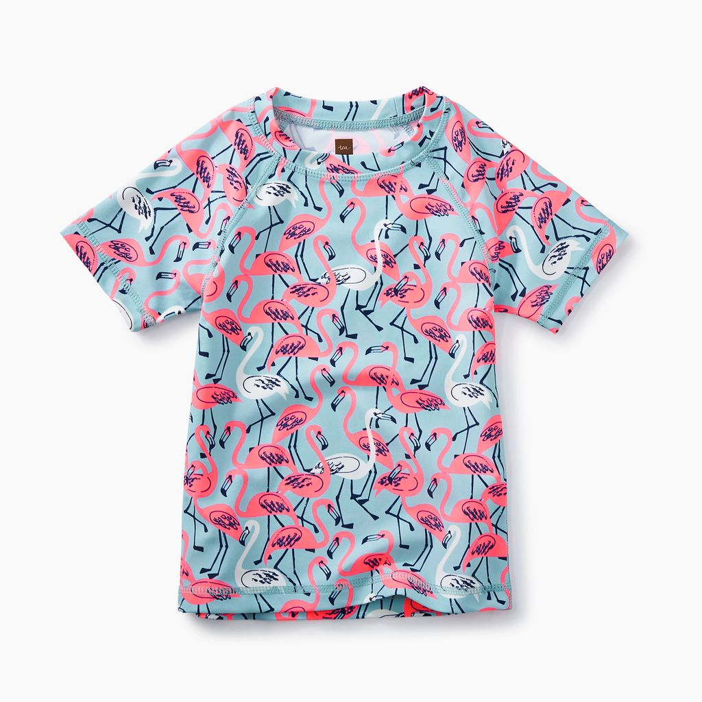 girl rash guard, flamingos