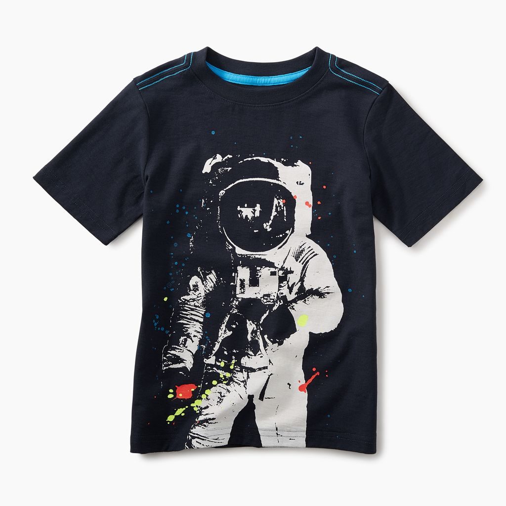 boy astronaut graphic tee, heritage blue, 5