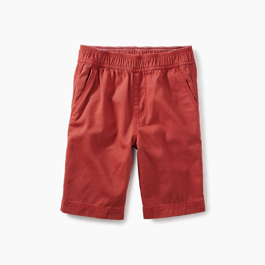 boy easy does it twill shorts, rustic red, 6
