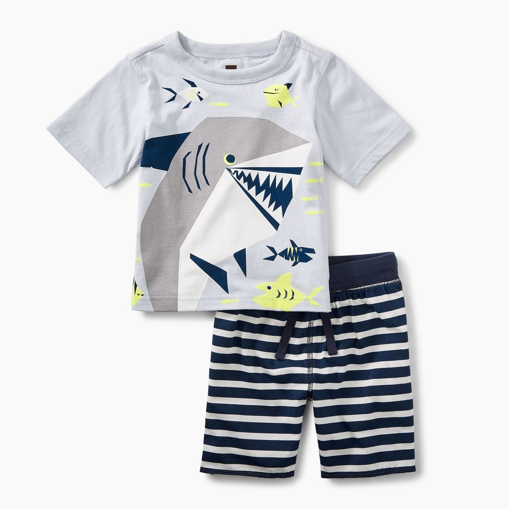 little boy smiling shark baby outfit