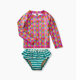 little girl mixed print rash guard set, tropical pineapple