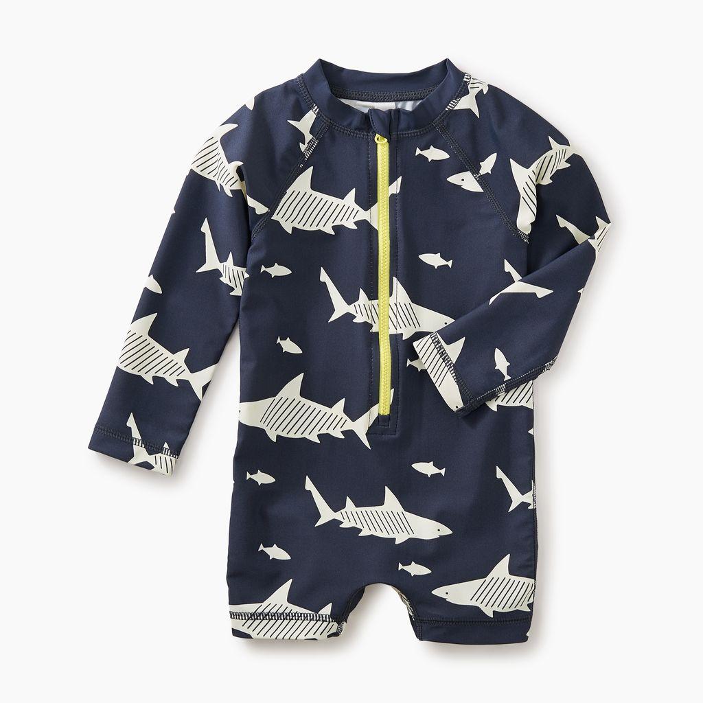 little boy shark rash guard one-piece