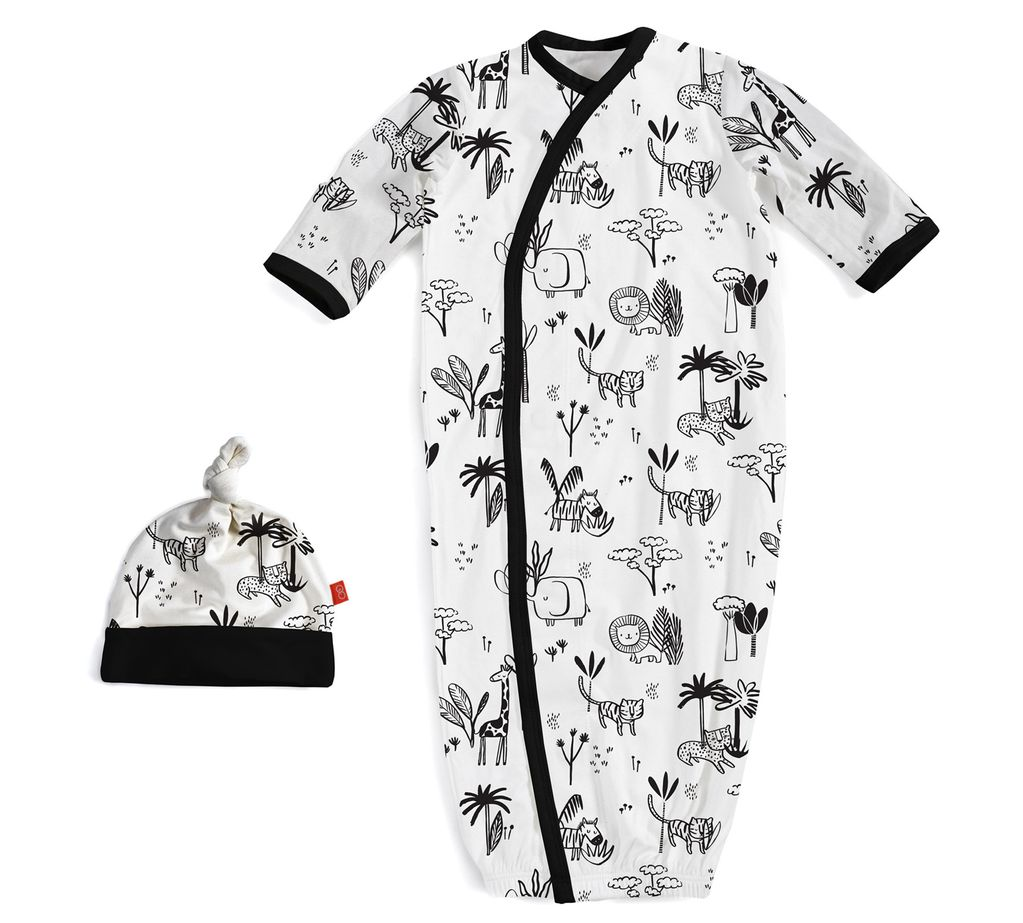 baby magnetic modal gown & hat set