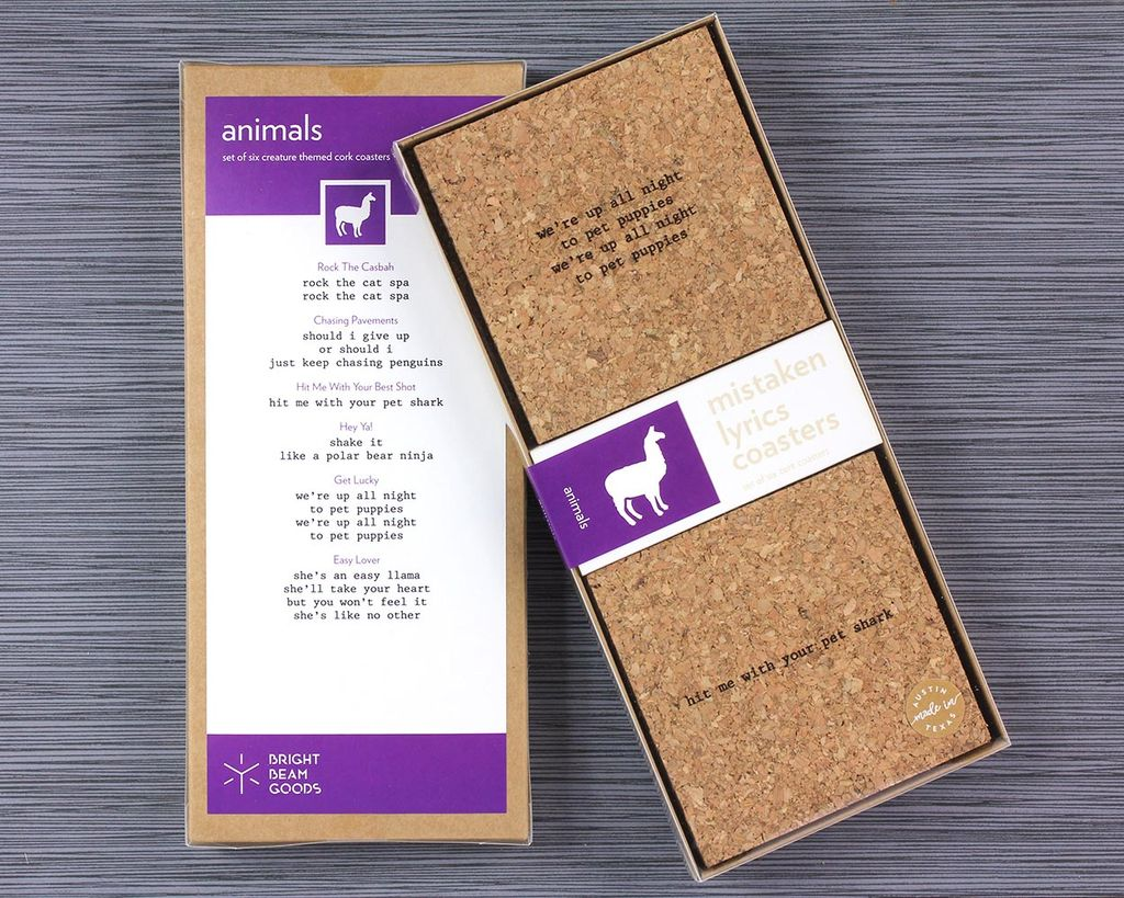 functional accessory mistaken lyrics coaster set (made in austin), animals